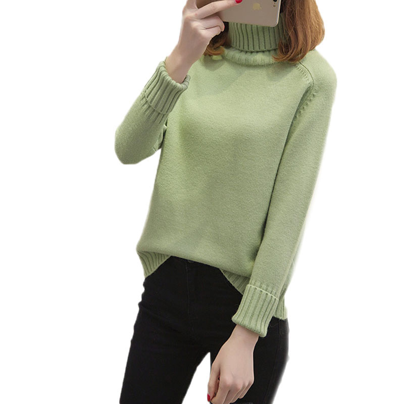 Leisure Female Turtleneck Sweater Autumn Winter New Loose pullover Tops Korean Warm Wild knitt Sweater Women High Collar N678 in Pullovers from Women 39 s Clothing