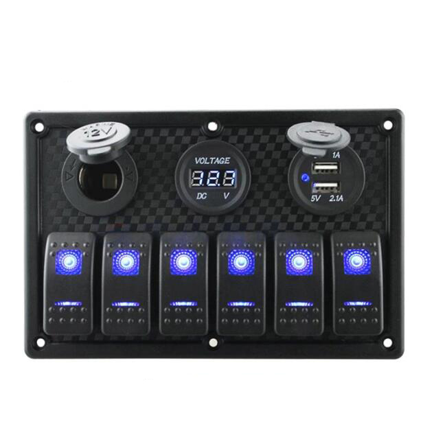 Marine/Boat Car Switch Panel 4/6/8 gang with  Cigarette Socket Dual USB On/Off Rocker Switch|Car Switches & Relays| |  - title=