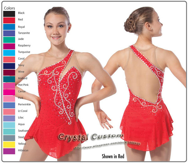 Hot Sales Ice Skating Dresses Adult  Spandex Beautiful New Brand Vogue Figure Skating Competition Dress DR2508