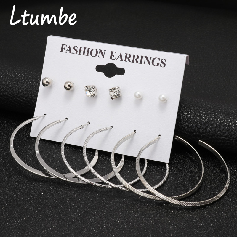 Ltumbe Oversize Gold Silver Color Big Circle Hoop Earring Sets For Women Simple Crystal Ball Earrings Jewelry Gift 6 Pair/set Jewelry & Accessories