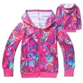 New Trolls Girls Coat Cartoon cotton hooded jacket For Girls Christmas Costume Kids Clothing 4-12 Y Children's clothing