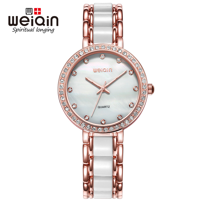 WEIQIN Luxury Women Watches Rose Gold Rhinestone Wristwatch Fashion Quartz Watch Lady 3ATM Waterproof Female Clock Reloj Mujer board game risk 2nd version full english version high quality very suitable for the party and family