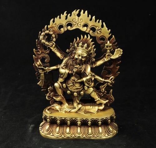 Exquisite Tibet Bronze Budista Vajra 6 Braços Mahakala Estátua de Buda, para Proteger A Rezar