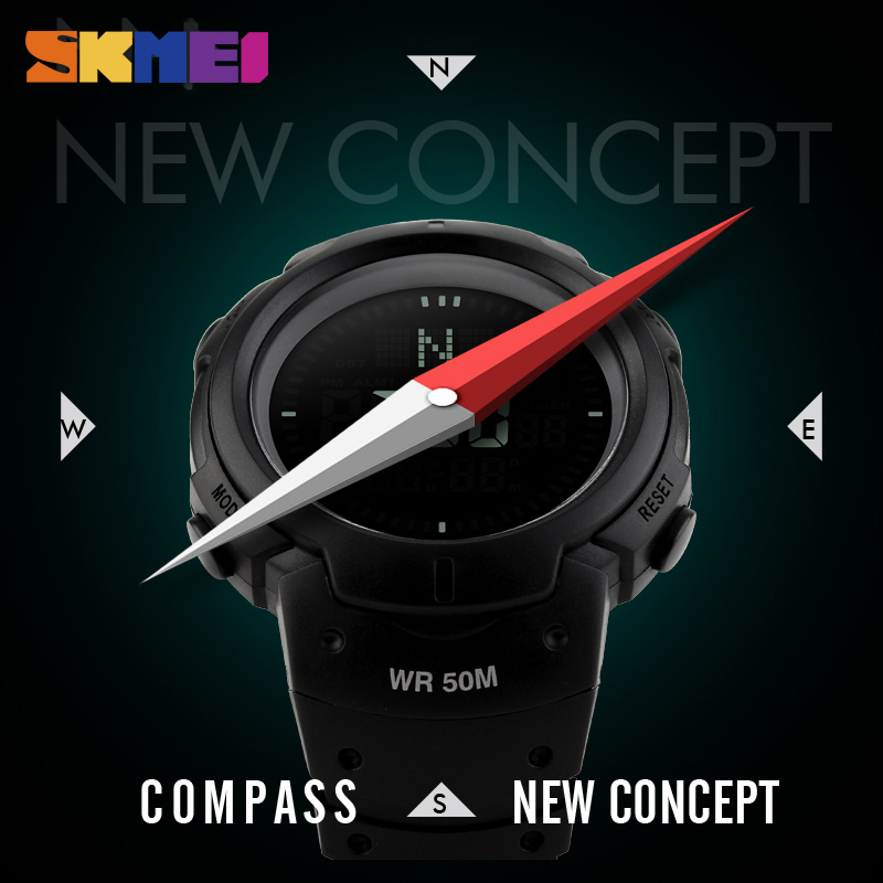 Compass Sports Watches Men Countdown Wristwatches Digital Watch Relogio Masculino Relojes Hombre Horloge Orologio Uomo New <font><b>SKMEI</b></font> image