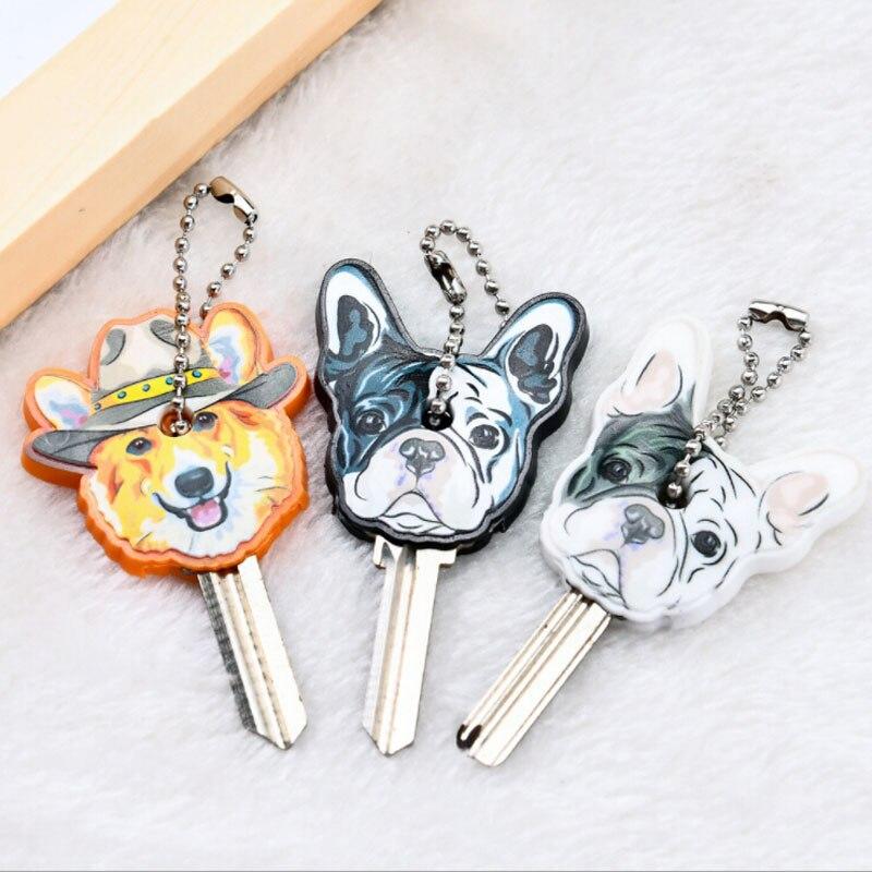 New Cartoon Bulldog Charm Key Cover PVC Cute Pet Dog Cat Key Chain Cap Rubber Pug Key Ring Men Women Unisex Keyring Wholesale