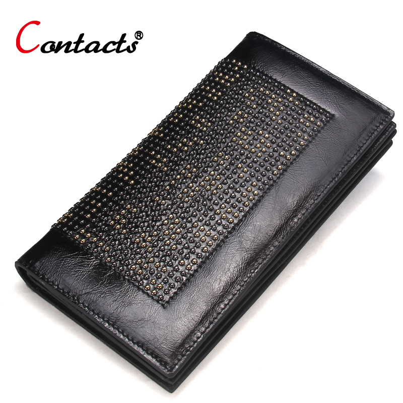 CONTACT'S Genuine Leather Wallet Women Long Purse Clutch Bags Ladies Card Holder High Quality Women Wallet Clutch Designer Brand aim fashion women s long clutch wallet and purse brand designer vintage leather wallets women bags high quality card holder n801