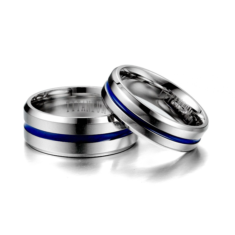 KNOCK  Trendy  Stainless Steel Black Blue Groove Ring For Men Wedding Bands Rainbow Lovers ring  Male Jewelry Drop shipping 5