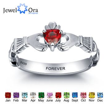 3b0876fd7e55 Personalizado grabado nombre joyas de piedra de Claddagh 925 anillos de plata  esterlina para mujeres gratis caja de regalo (JewelOra RI101962)