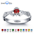 Personalized Engrave Name Birthstone Jewelry Claddagh 925 Sterling Silver Rings For Women Free Gift Box (JewelOra RI101962)