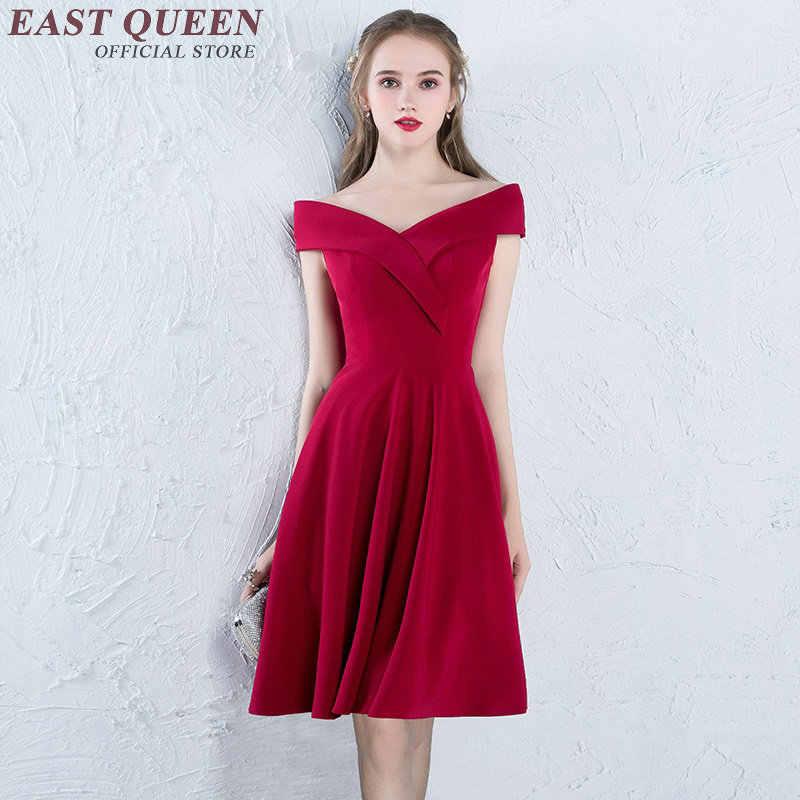 קצר שמלת ערב 2018 הגעה חדשה אלגנטית שמלת מסיבת קצר כבוי כתף בציר אדום סקטים שמלת AA2595 YQ