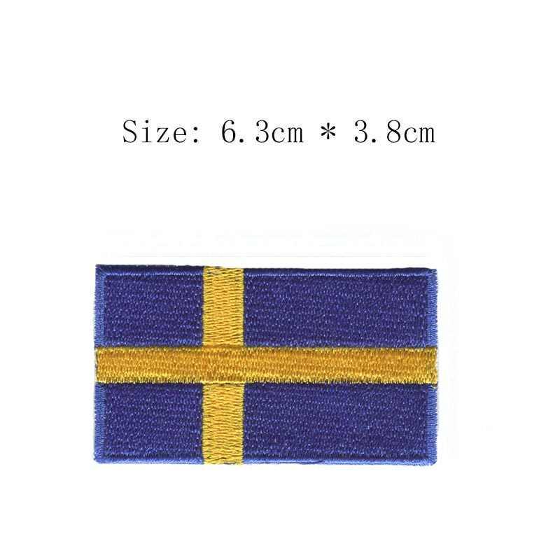 Broderie suède drapeau patch Stockholm city emblème vente en gros fer à coudre poitrine gauche pour moto veste manteau livraison gratuite