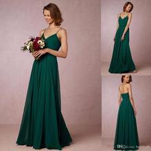 Cheap 2017 Dark Green Chiffon Long Bridesmaid Dresses Spaghetti Straps Bohemian Maid Of Honor Gowns For Country BD216