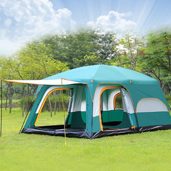 Large camping tent 10 12 person people waterproof double layer 2 living rooms and 1 hall family tents outdoor camping big gazebo