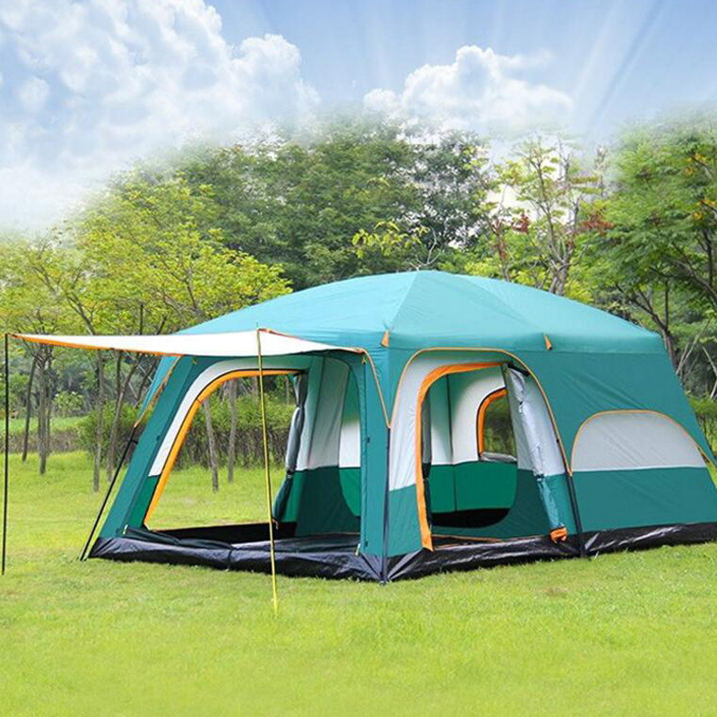 Large camping tent 10 12 person waterproof double layer 2 living rooms and 1 hall family tents outdoor camping big gazebo tent good quality outdoor camping tent ultralight gazebo summer sun shelter awning tent winter tents double layer 2 person 4 season