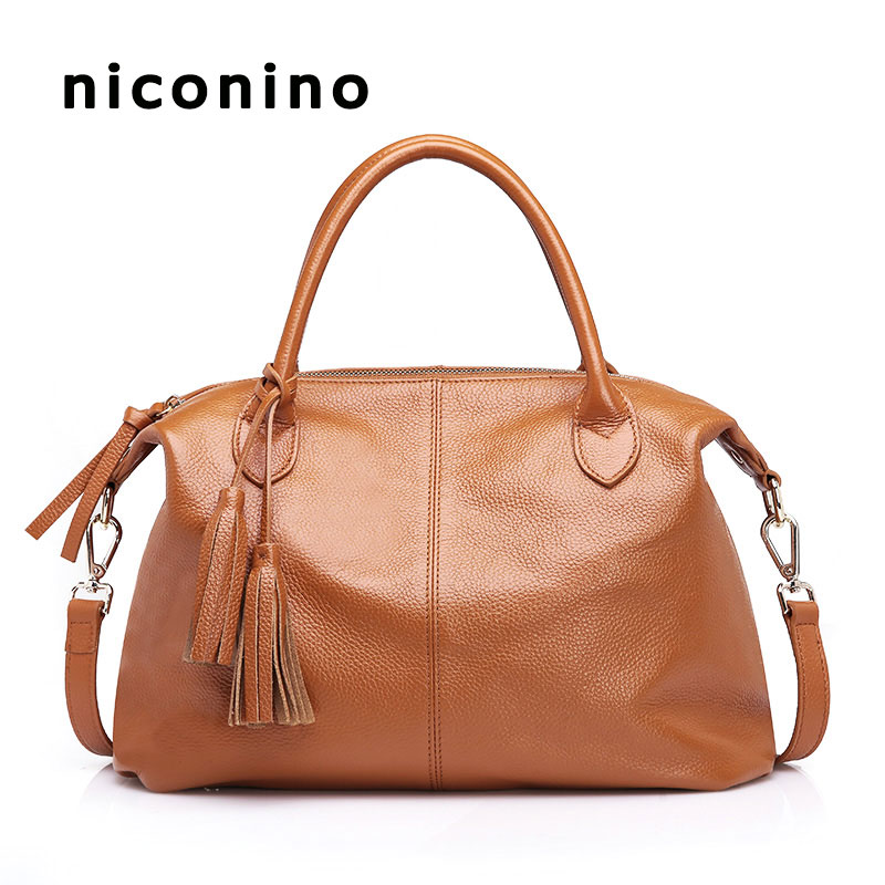 100% nature cow genuine leather first layer for womens tote handbags satchel shoulder bag with tassel zency genuine leather small women shoulder tassel bags tote handbags first layer cow leather ladies messenger bag satchel