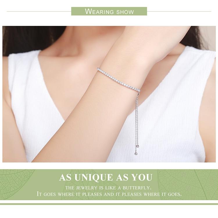 HTB1Q1dTgvNNTKJjSspcq6z4KVXaX BAMOER Featured Brand DEALS 925 Sterling Silver Sparkling Strand Bracelet Women Link Tennis Bracelet Silver Jewelry SCB029