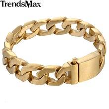 Trendsmax الرجال أساور الهيب هوب الذهب الكوبية ربط سلسلة 316L الفولاذ المقاوم للصدأ سوار للذكور مجوهرات دروبشيبينغ 13 مللي متر KHB293