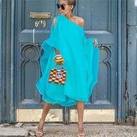 Women Spring Chiffon Asymmetric Plus Size Off Shoulder Cape Dress Batwing Sleeves Solid Color Midi Party Dress Vestidos