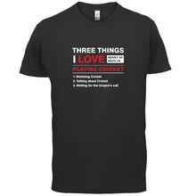 Three Things I Love Cricket- Mens T-Shirt - Cricket / Funny / Gift - 13 ColoursMen'S T-Shirts Summer Style Fashion Swag Men цена