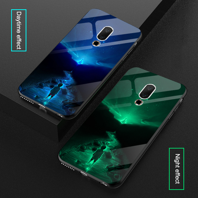 Starry night Shine luxury Case For Meizu 16 th 16th Tempered glass Luminous silicone cover For Meizu 16 Plus 16th Plus
