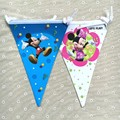 Banderas de papel de Minnie Mickey mouse para Niños fiesta de cumpleaños Banderas decorativas 1 pack