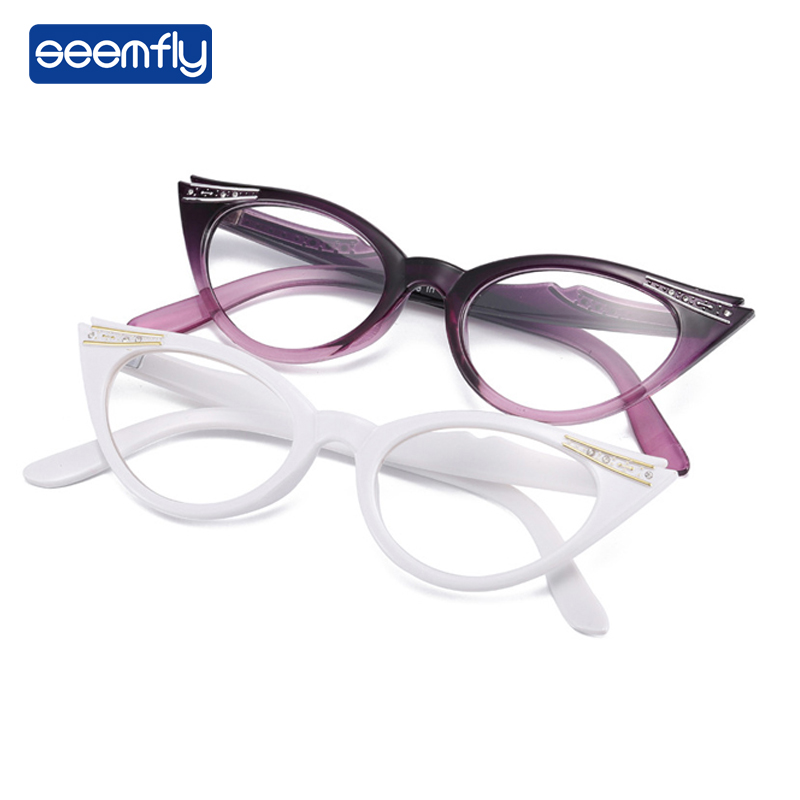 Seemfly Cat Eyes Read Glasses Magnifier Magnifying Eyewear Reading Glasses Portable Gift For Parents Presbyopic Magnification
