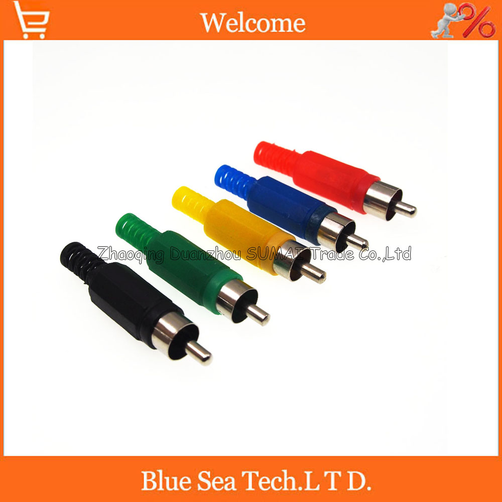 Hot Sale Solder RCA plug Audio Video Connector RCA male AV plug Five color choose цена