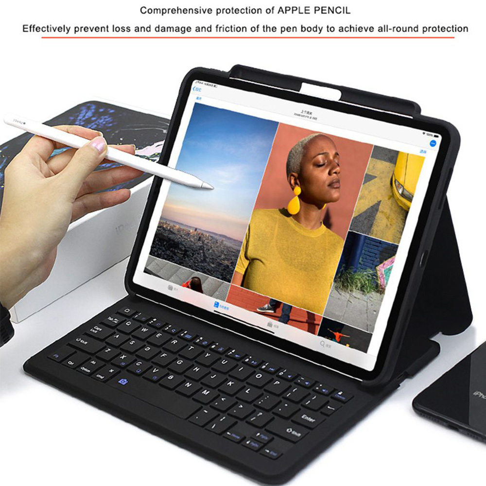 Funda de teclado Bluetooth para iPad Pro 12.9 / 11 2018 Auto Sleep / Wake Smart PU Funda protectora de cuero para Apple iPad 2018 Ligero Ultra delgado Folio Soporte Funda inalámbrica Bluetooth Pen Slot Shell - 4