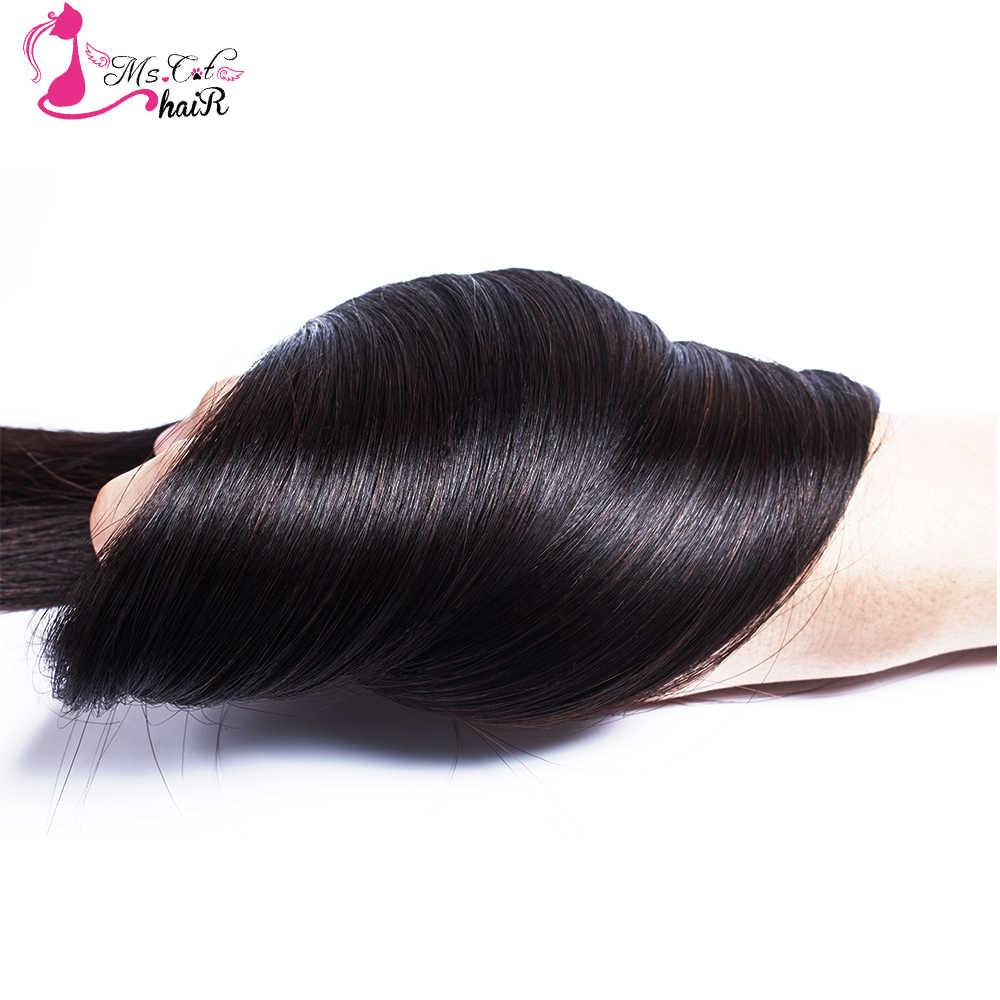 """Ms gato feixes de cabelo 8 """"-28"""" peruano em linha reta 100% extensões de cabelo humano preto natural 4 pacotes ofertas duplo trama remy cabelo"""