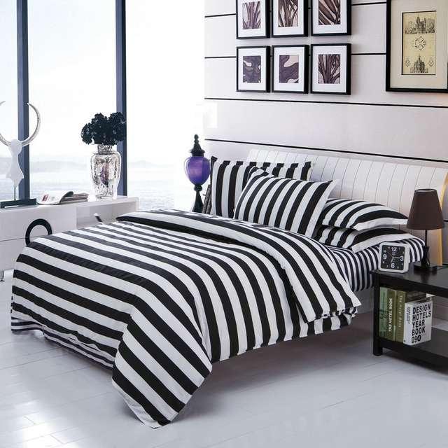 1f5f36ca6ad Online Shop Classical black and white cotton Bedding set home textile bed  linen Duvet cover Bedclothes