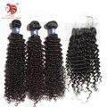 Venta caliente Enrollamiento Profundo 6A brasileño de la virgen del pelo con cierre TOP cabello natural producto de pelo Para Su Pelo Agradable envío gratis