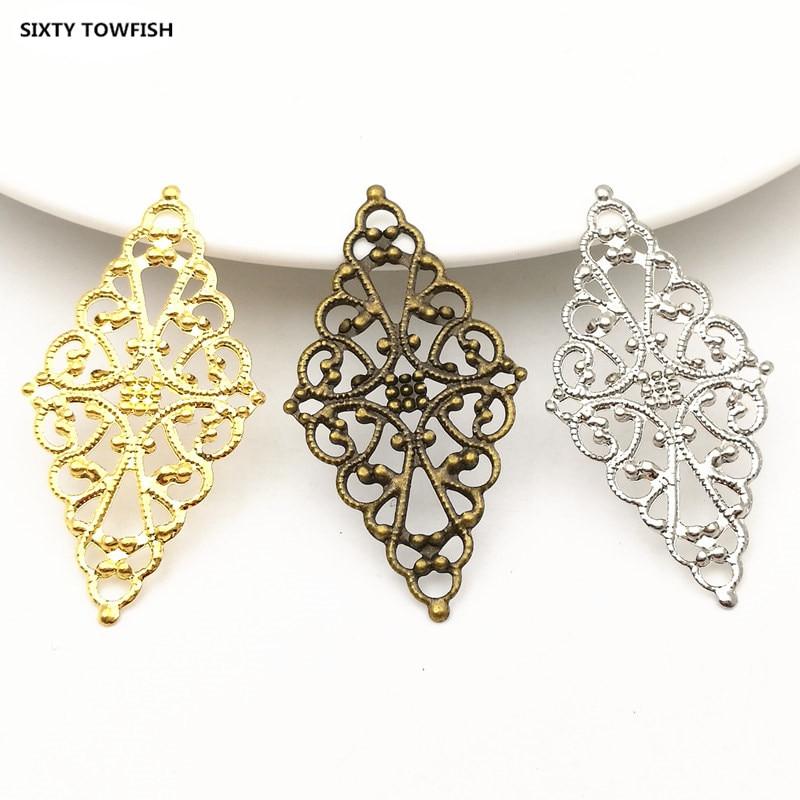 20pcs/lot 24x43mm 3Colors Metal Rhombus Filigree Flowers Slice Charms Settings DIY Components Jewelry Findings B103202
