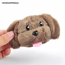 HANDANWEIRAN 1Pcs New Hot Kawaii 13CM Dog Head Plush Stuffed Toys Lovely Dog Pendants Keychain Plush Toy For Kids Gift PP Cotton