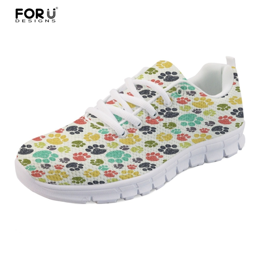 FORUDESIGNS Colorful Paws 3D Print Spring Summer Feminino Flats Shoes Sneakers Women Casual Air Mesh Shoes Girls Ladies Leisure instantarts cute glasses cat kitty print women flats shoes fashion comfortable mesh shoes casual spring sneakers for teens girls