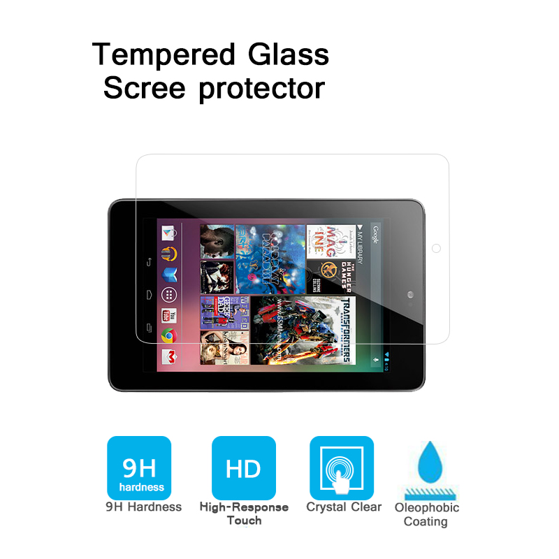 Best Qaulity 9H Premium Anti-shatter tempered glass For LG GOOGLE NEXUS 7. 7.0 tablet Screen Protector Film HD glossy film
