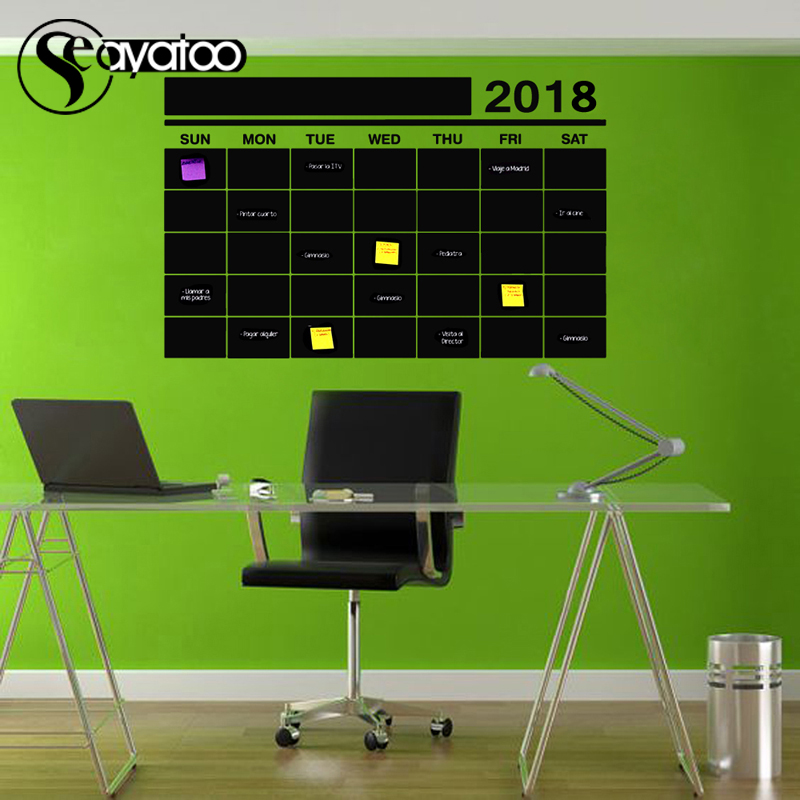 2018 This Month Week Blackboard Chalkboard Vinyl Wall Sticker Decal Office Calendar Plan 57x90cm in Wall Stickers from Home Garden