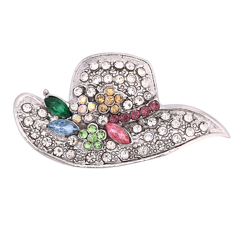 Fashion Women Hat Snap Jewelry Full Rhinestone Snap Buttons Fit 18mm Snap Bracelet&Bangles DIY Jewelry