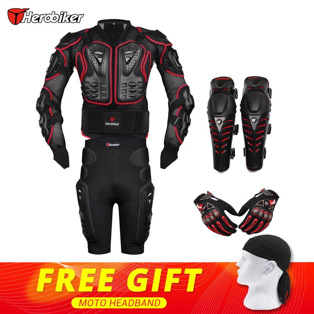HEROBIKER Rosso Corse di Motocross Moto Body Armor Moto di Protezione Giacca + Shorts Pantaloni + Protezioni Ginocchiere + Guanti