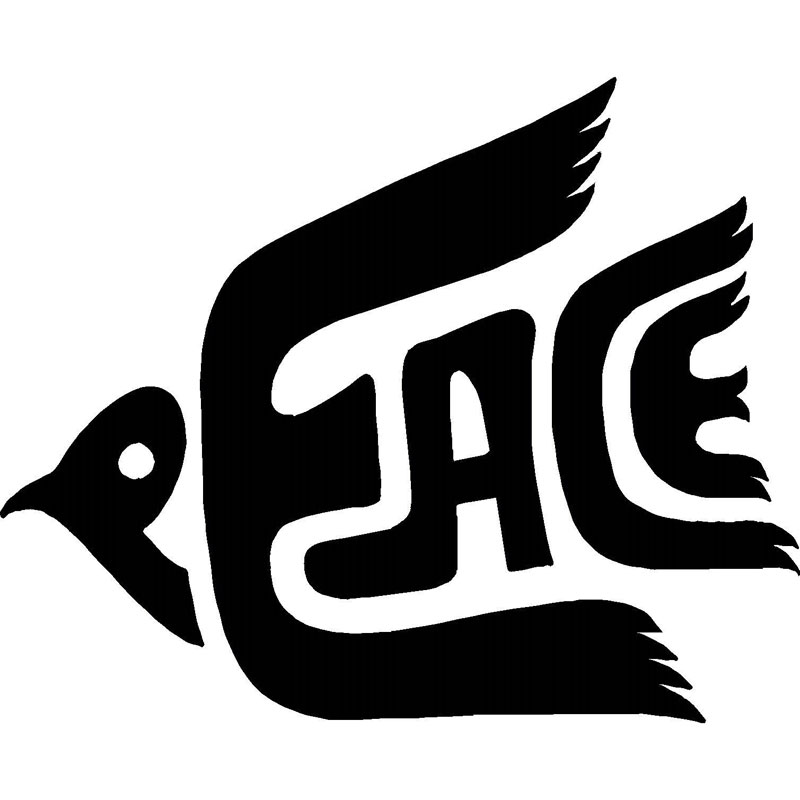 12.7CM*10.2CM Peace Dove Decal Vinyl Home Decor Wall Car Truck Hippie Sticker Car Styling Accessories Black/Sliver C8-0880