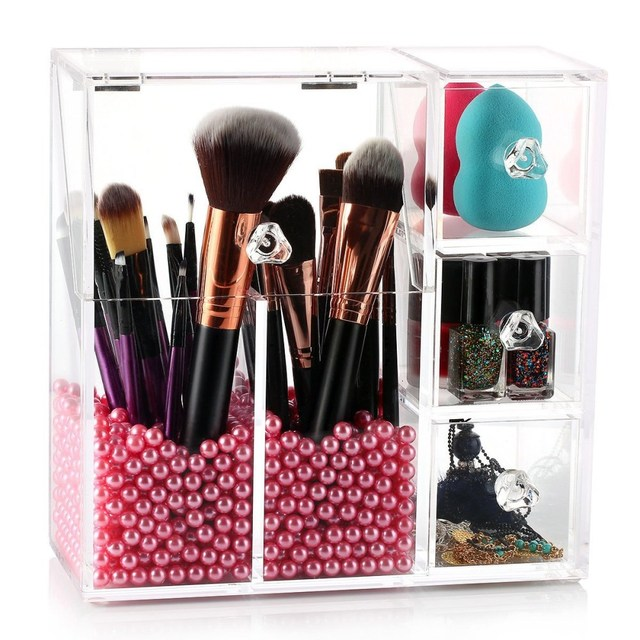 new Acrylic makeup organizer Display box Cosmetics tools Storage Box makeup brush holder Jewelry Accessory case casket