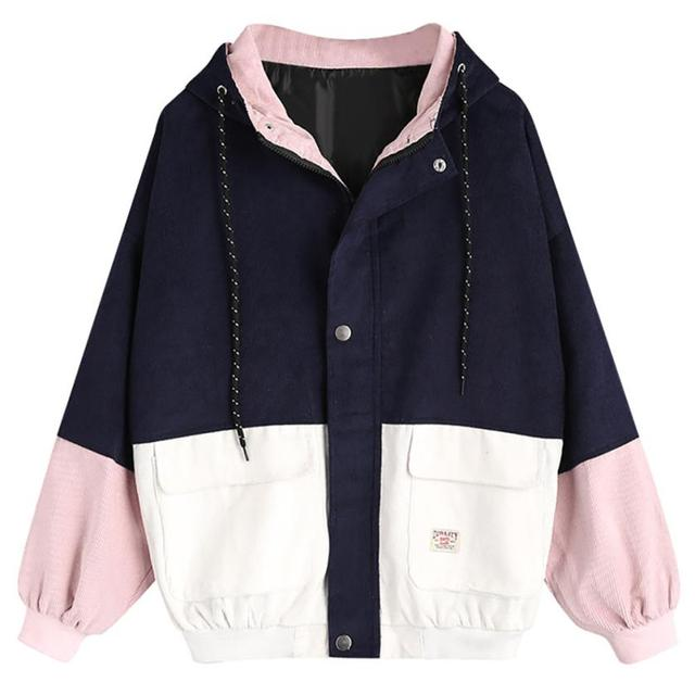 Autumn Women Casual Loose Jacket High Street Single Breasted Jacket Sweet Lovely Cute Blocking Color Coat Outerwear