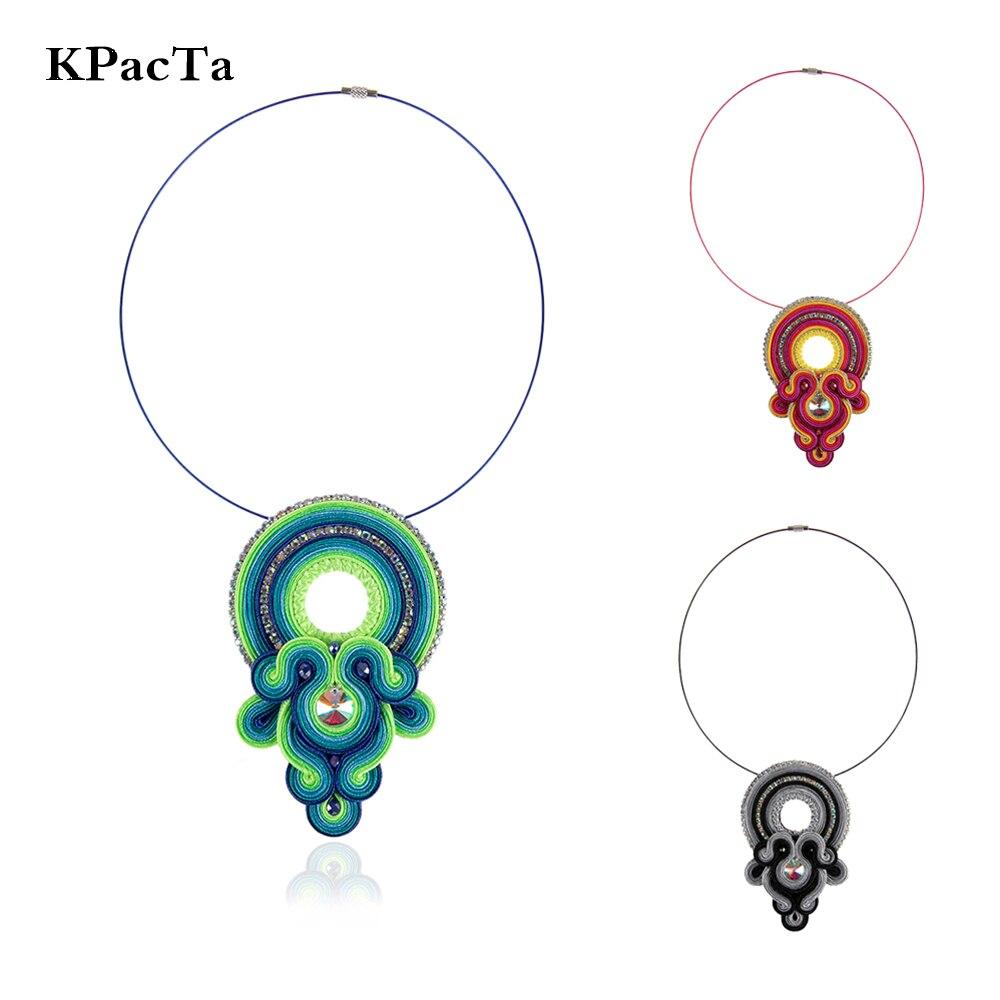 KPacTa 2019 New Soutache Handmade Weaving Necklaces Ethnic Jewelry Women Rhinestone Decoration Pendant Necklace Party Gifts in Pendant Necklaces from Jewelry Accessories