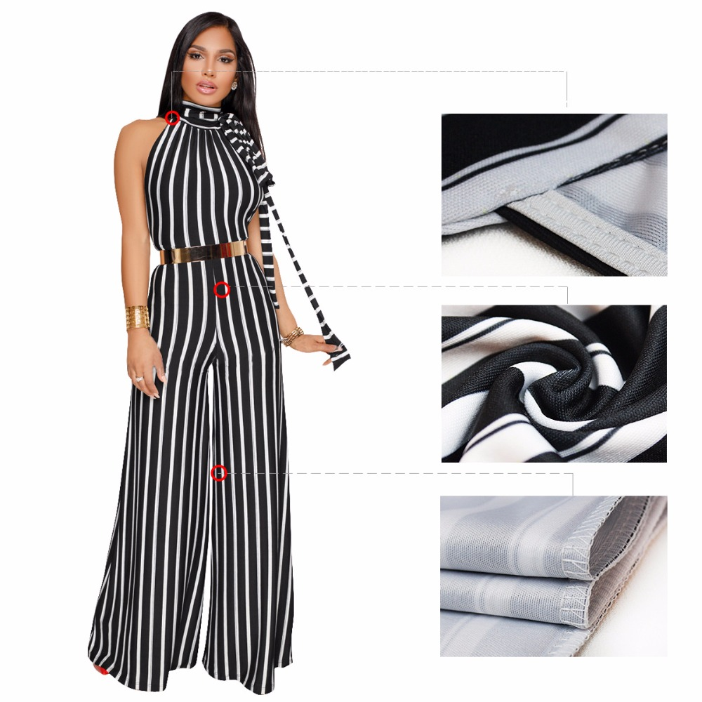 Onepiecer Jumpsuit Elegant Woman Wide Leg Pants O Neck Striped Backless Rompers Womens Jumpsuit Loose Party Jumpsuits Overalls