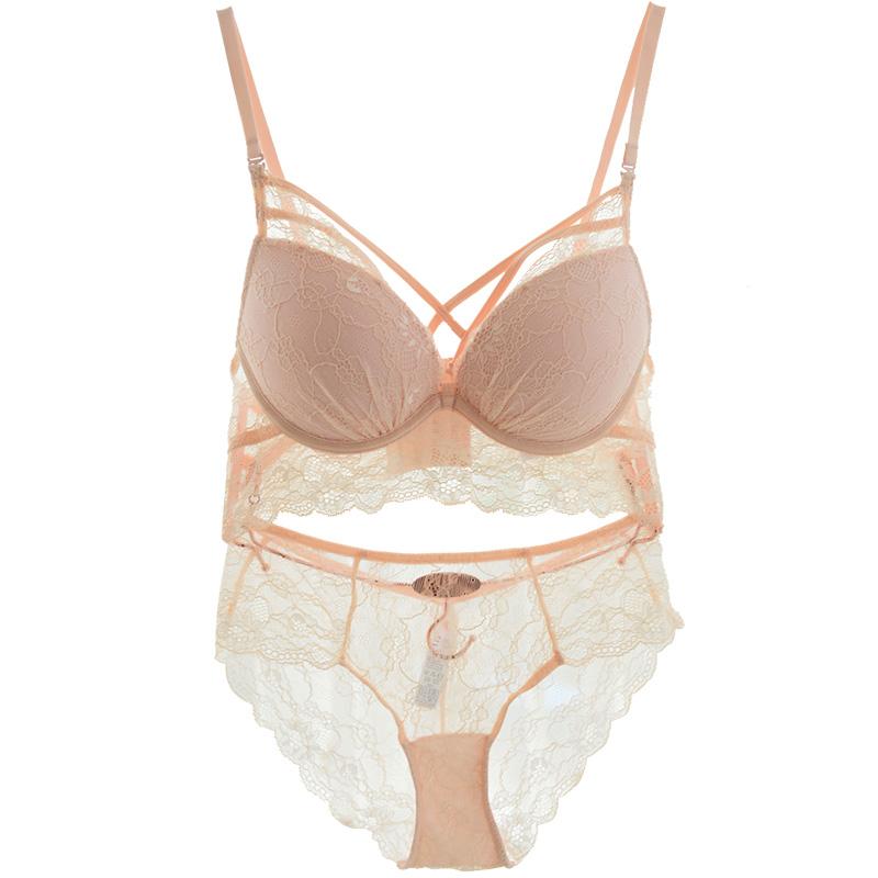 Sexy Lace Push Up Bra Set Pink Bandage Caged Bralette Set Women ... c436b5462