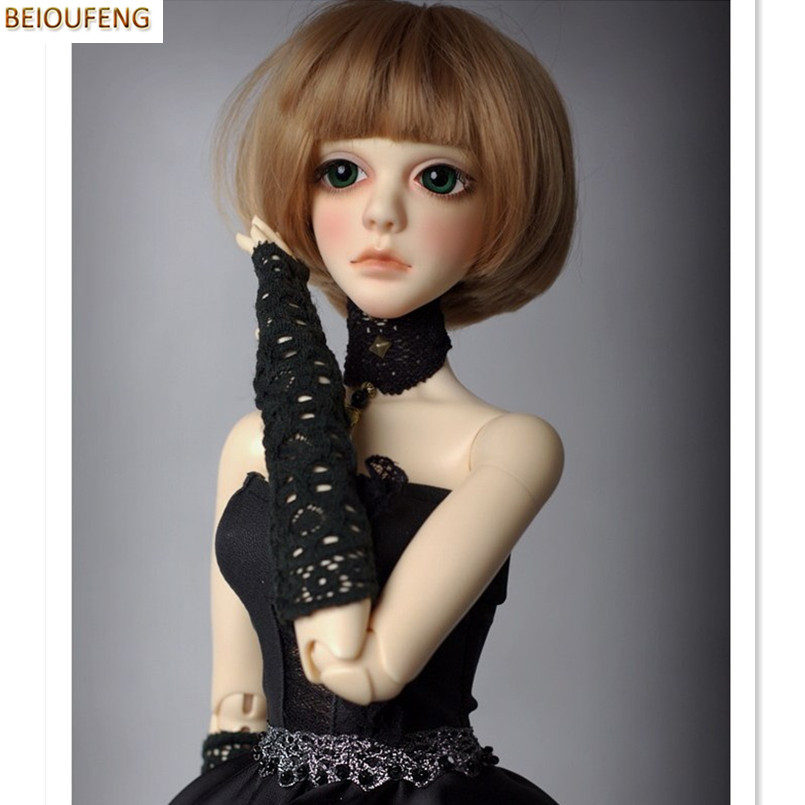 BEIOUFENG (21.5-23.5CM) 1/3 BJD Doll Wigs High Temperature Wire Hair Accessories for Dolls,Women Sexy Neat Bangs Short BJD Wig 25cm 100cm doll wigs hair refires bjd hair black gold brown green straight wig thick hair for 1 3 1 4 bjd diy