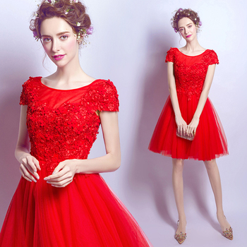 2017 new arrival stock maternity plus size bridal gown pregnant evening dress red lace flower sexy short sleeve simple 2537q