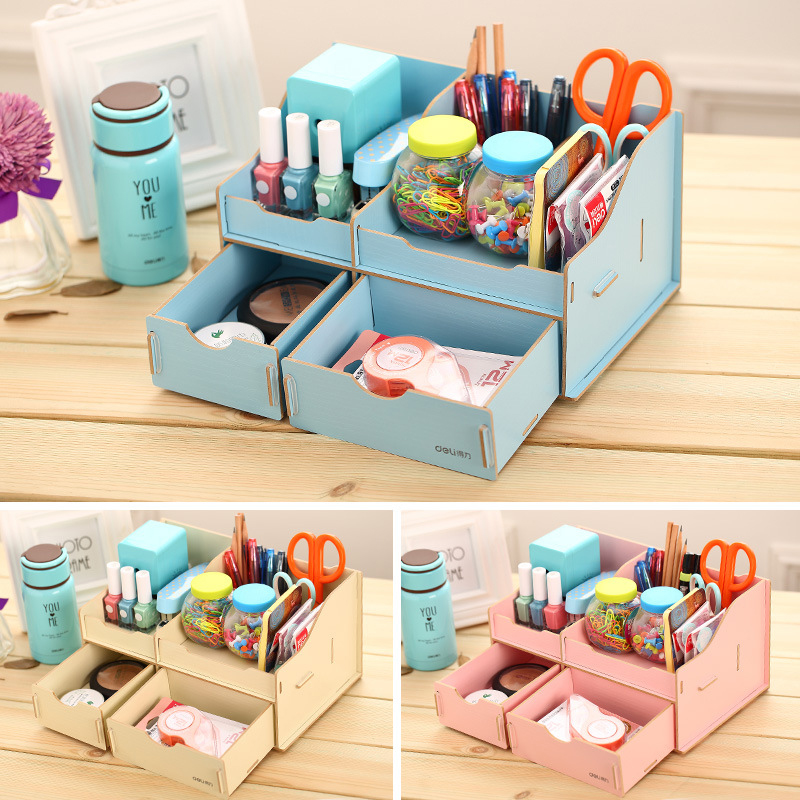 Multi functional diy wooden desk storage box desktop Diy pencil holder for desk