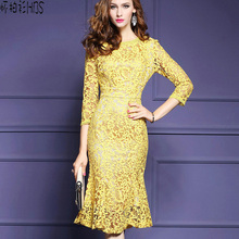 Hollow out Yellow lace gown Women  lengthy sleeve horny gown Elegant night occasion Yellow  clothes feminine girls summer time gown