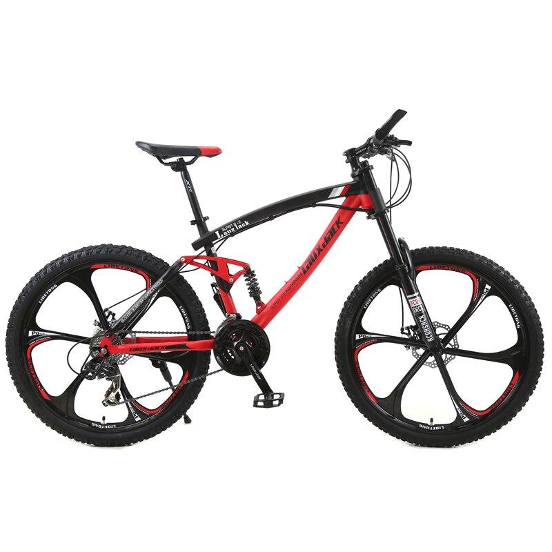 LAUXJACK Mountain Bike Quadro de Aço Quadro de Suspensão Completa Mecânica Disco de Freio Shimano Velocidade 24 26