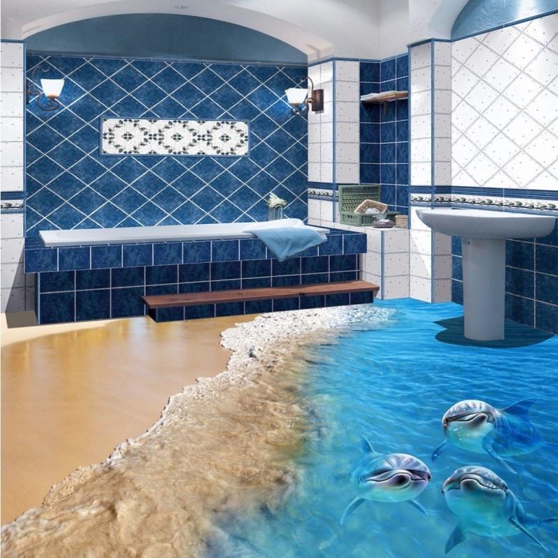 Free Shipping Beach Dolphin Living Room Bathroom 3d Floor Tiles Painting Self Adhesive Bedroom Study Kitchen Flooring Wallpaper Floor Wallpaper Tile Paintingfloor Tile Painting Aliexpress